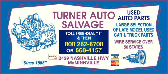 Turner Auto Salvage In Mcminnville Tn